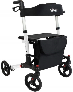 Folding Rollator Walker by Vive - 4 Wheel Medical Rolling Walker
