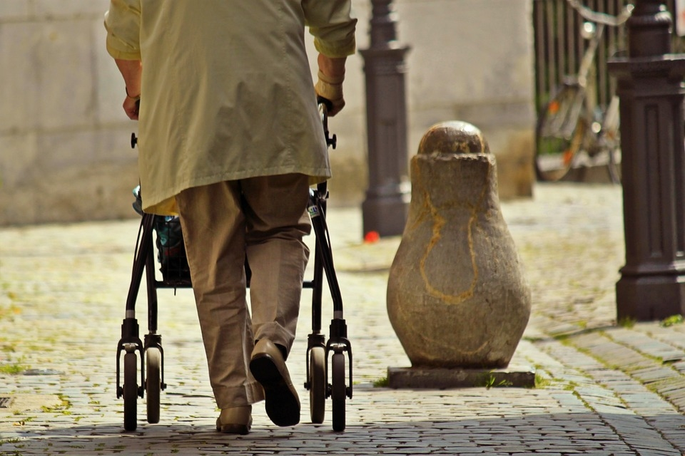 Guiding a Rollator on a Pavement