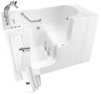 Choosing the right size walk in bath for your needs for Walk in tub water capacity